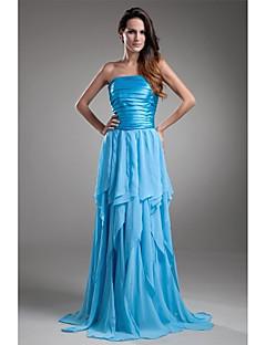 포멀 이브닝 드레스 A-라인 끈없는 스타일 바닥 길이 쉬폰 / 샤르뫼즈 와 주름
