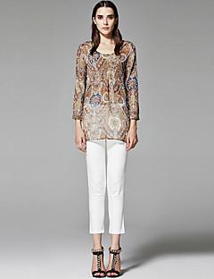 ZigZag® Damen Rundhalsausschnitt Lange Ärmel Shirt & Bluse Braun - 11250