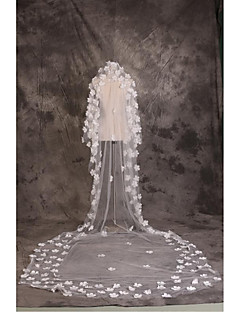 Wedding Veil One-tier Cathedral Veils Cut Edge Tulle White