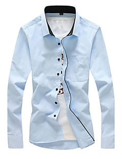Men's Solid Casual / Work / Plus Sizes Shirt,Cotton Long Sleeve Blue / White