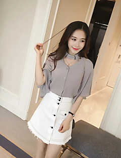 Women's Casual/Daily Street chic Summer T-shirt,Solid Shirt Collar Short Sleeve Pink / White / Gray Polyester Thin