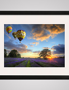 Lavender Landscape Printed Canvas  Modern Wall Art with Black Frame 16x20inch for Home Decoration Ready To Hang