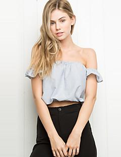 Women's Solid Blue / Black Blouse,Strapless Short Sleeve