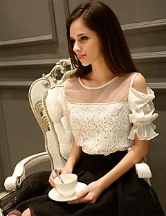 DABUWAWA Women's Solid White Shirt,Round Neck ½ Length Sleeve