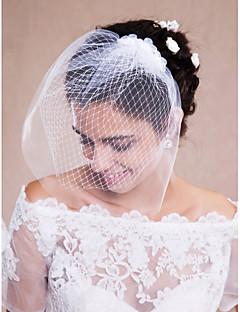 Welony ślubne Monistyczny Welony Blusher / Zasłony dla krótkich włosów / Stroiki z zasłoną Raw krawędzi Tiul Biały
