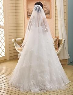 Wedding Veil One-tier Chapel Veils Pencil Edge Lace White