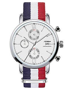 Herren Armbanduhr Quartz Kalender Chronograph Wasserdicht Edelstahl Band Blau Marke SINOBI