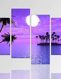VISUAL STAR®Purple Seascape Picture Print on Canvas with Wood Frame Full Moon Canvas Wall Art Ready to Hang