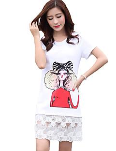 Mulheres Camiseta Decote Redondo Manga Curta Estampado Algodão / Rayon Mulheres