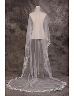 Один слой-Фата для венчания(Бежевый,Тюль / Кружево,Вышивка / Блёстки) -Обрезанная кромка