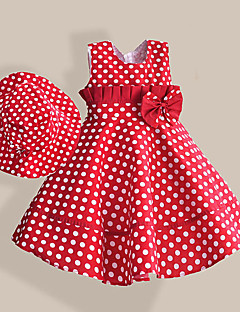 Girls Girl's Dress+ Hat Red Dot Bow Belt Party Pageant Princess Casual Children Clothes
