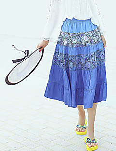 Semester / Strand Midi Kjolar Kvinnors Oelastisk Bomull / Polyester