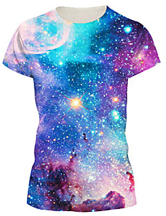 Women's Casual/Daily Simple / Street chic Summer T-shirt,Galaxy Crew Neck Short Sleeve Blue Nylon / Spandex Medium