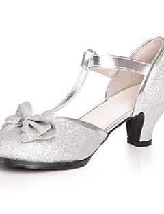 Mädchen-High Heels-Kleid / Lässig-Kunstleder-Blockabsatz-Rundeschuh-Blau / Rosa / Silber