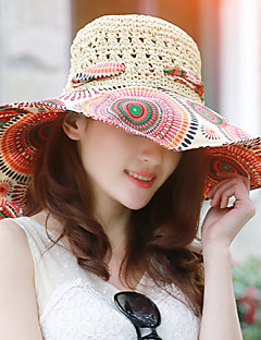 Fashion Summer BeachTravel Hollow  Hand-woven Multicolored Printing Bow Straw Hat