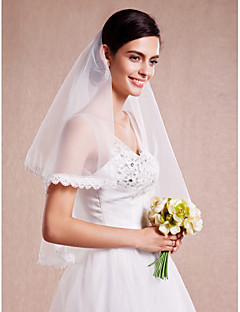 Veli da sposa 1 strato Velo corto (ai gomiti) Bordi in pizzo 59,06 in (150cm) Tulle / Pizzo Avorio