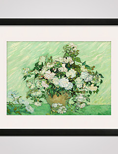 Framed  Irises and Roses by Van Gogh  40x50cm Modern Canvas Print Art for Wall Decoration Ready To Hang