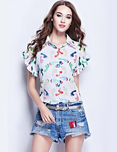 Mulheres Camisa Casual Plus Sizes / Moda de Rua Verão,Estampado Branco / Preto Poliéster Colarinho de Camisa Manga Curta Média