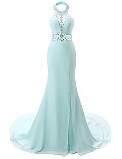 포멀 이브닝 드레스-스카이 블루 트럼펫/머메이드 코트 트레인 홀터 넥 쉬폰