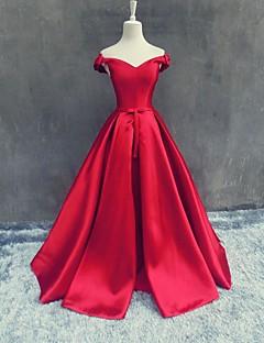 포멀 이브닝 드레스 A-라인 오프 더 숄더 바닥 길이 새틴 와 리본