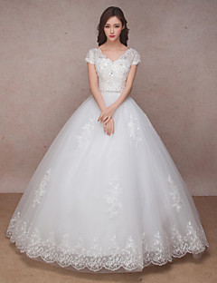 Princess Wedding Dress-White Floor-length V-neck / Organza