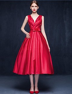 Cocktail Party Dress A-line V-neck Tea-length Matte Satin with Bow(s) / Sash / Ribbon