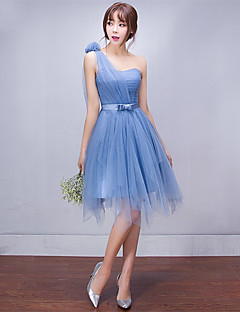 Short / Mini Tulle Lace-up Bridesmaid Dress - A-line One Shoulder with Side Draping