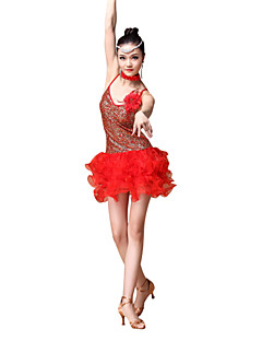 Latin Dance Outfits Women's Performance Sequined Ruched / 4 Pieces Gold / Red / Sky blue