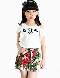 Girl's Pink / White / Yellow Tee / Shorts,Floral Cotton Summer