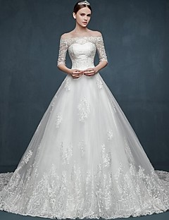 Ball Gown Wedding Dress Chapel Train Off-the-shoulder Tulle with Appliques