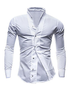 Men's Solid Casual / Work / Formal Shirt,Cotton Long Sleeve Black / Blue / White
