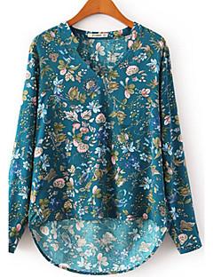 Langærmet V-hals Gennemsigtig Kvinders Blå / Hvid Trykt mønster Sommer Vintage / Simpel Arbejde Bluse,Akryl / Polyester