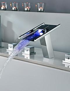 Zeitgenössisch 3-Loch-Armatur LED / Wasserfall / Handdusche inklusive with  Keramisches Ventil Drei Griffe Fünf Löcher for  Chrom ,