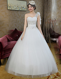 Ball Gown Wedding Dress Floor-length One Shoulder Lace / Satin / Tulle with Beading / Lace