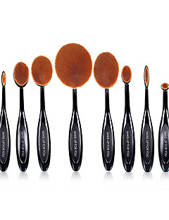 10 PCS Oval Makeup Brushes Set Synthetic Hair Professional / Full Coverage Plastic Face / Eye / Lip MAKE-UP FOR YOU