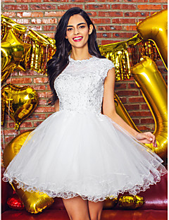TS couture® коктейль платье платье мяч жемчужина короткий / мини тюль с аппликациями / бисером / кружева