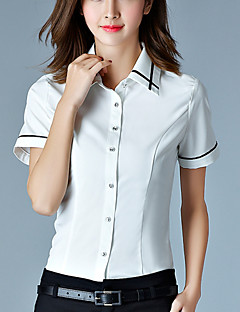 Mulheres Camisa Trabalho Simples Verão,Patchwork Branco Algodão Colarinho de Camisa Manga Curta Fina