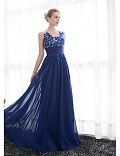 저녁 정장파티 드레스 - 로얄 블루 A라인 바닥 길이 스쿱 명주그물/조젯 플러스 사이즈