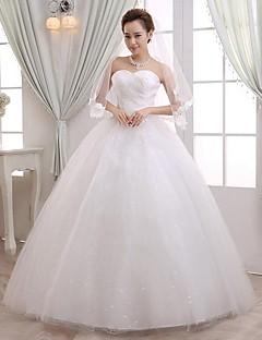 볼 드레스 웨딩 드레스 바닥 길이 스윗하트 레이스 / 튤 와 비즈 / 레이스