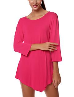 여성의 솔리드 라운드 넥 ¾ 소매 티셔츠,섹시 / 스트리트 쉬크 데이트 핑크 / 블랙 폴리에스테르 얇음
