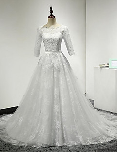 A-line Wedding Dress-Ivory Court Train Scoop Lace / Tulle