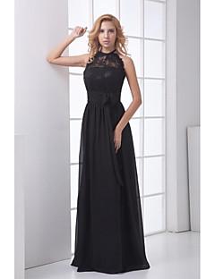 포멀 이브닝 드레스 시스 / 칼럼 홀터 넥 바닥 길이 쉬폰 / 레이스 와 레이스 / 허리끈/리본