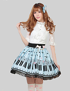 Blå Pretty Lolita Key och katt Princess Kawaii Skirt Lovely Cosplay