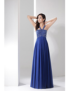 Formal Evening Dress A-line Straps Floor-length Chiffon with Beading