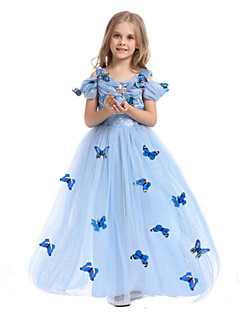 Girls Fancy Dress Cosplay Party Costume Princess Fairytale Festival/Holiday Halloween Costumes LightBlue Print DressHalloween Christmas Carnival