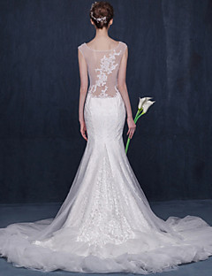 Trumpet/Mermaid Wedding Dress-Ivory Chapel Train Scoop Lace / Tulle