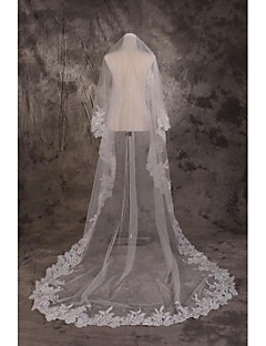 Wedding Veil One-tier Cathedral Veils Cut Edge Lace Applique Edge Tulle White