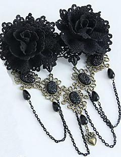 Handmade Black Rose Gothic Lolita Headpiece with Beads Tassel