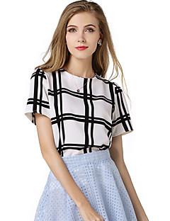 Strakke ronde hals-Polyester-Racerback-Vrouwen-T-shirt-Korte mouw