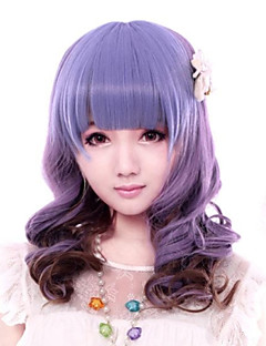 Lolita Wigs Sweet Lolita Color Gradient Medium / Curly Purple Lolita Wig 43 CM Cosplay Wigs Patchwork Wig For Women